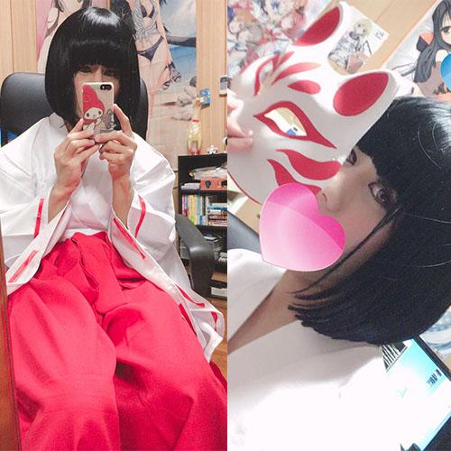 黒髪ぱっつん巫女服