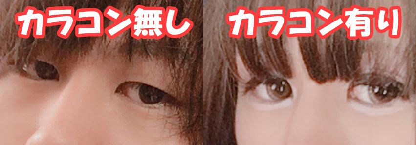男の目とカラコン装着時の比較