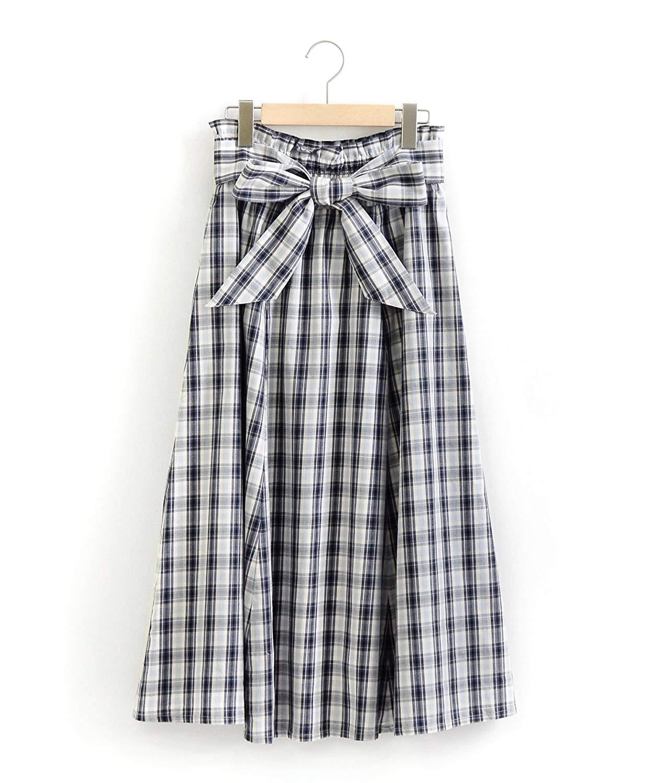 チェック柄ロングスカート